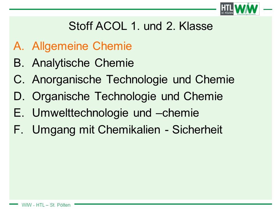 WIW - HTL – St.Pölten Stoff ACOL 1. und 2.