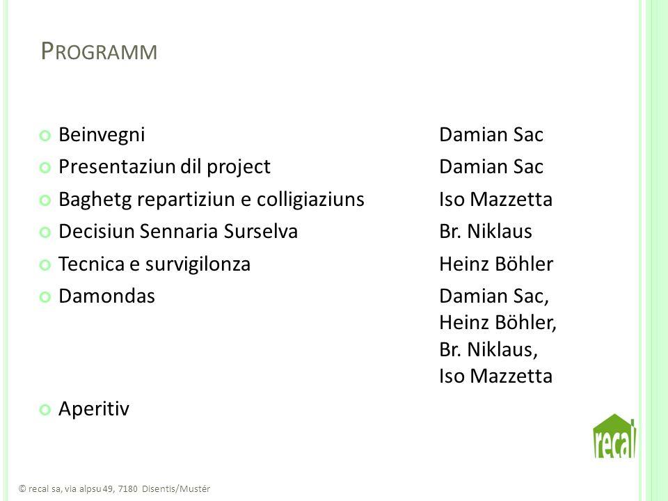 P ROGRAMM BeinvegniDamian Sac Presentaziun dil projectDamian Sac Baghetg repartiziun e colligiaziunsIso Mazzetta Decisiun Sennaria SurselvaBr.
