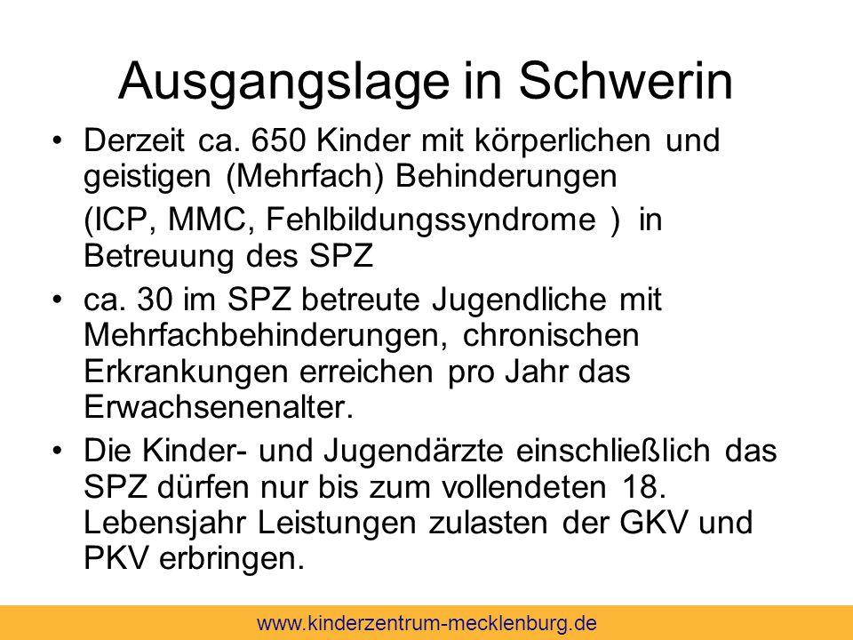 Ausgangslage in Schwerin Derzeit ca. 650 Kinder mit körperlichen und geistigen (Mehrfach) Behinderungen (ICP, MMC, Fehlbildungssyndrome ) in Betreuung