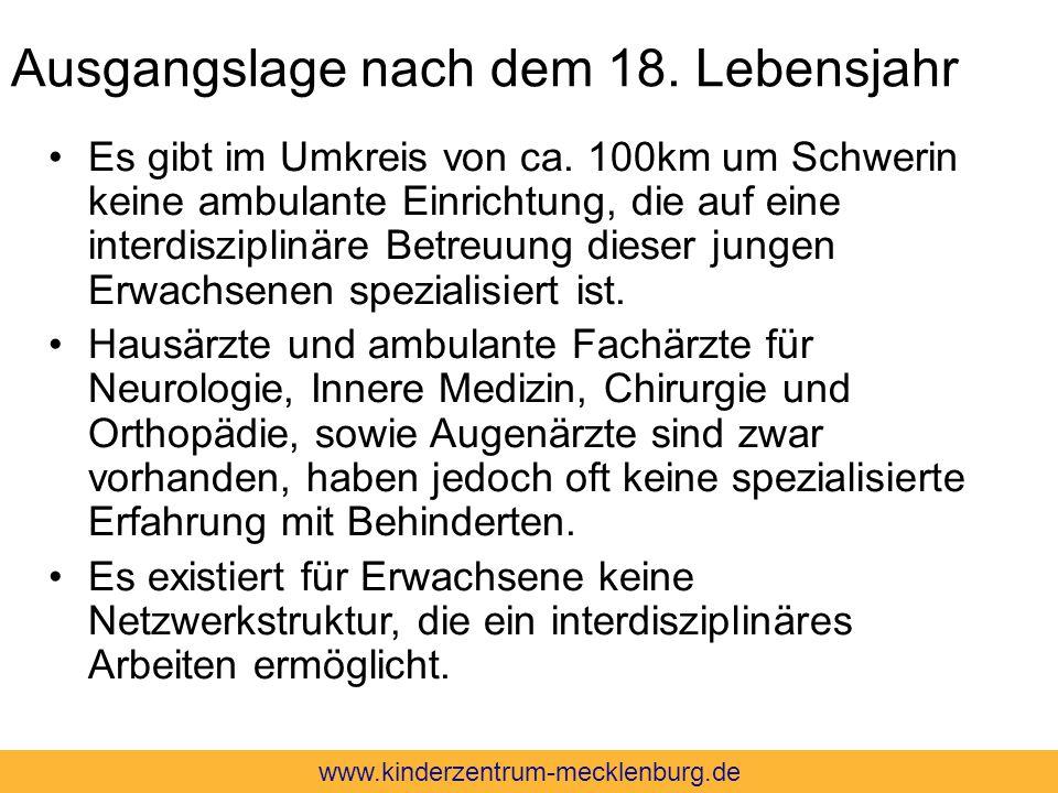 Ausgangslage nach dem 18. Lebensjahr Es gibt im Umkreis von ca. 100km um Schwerin keine ambulante Einrichtung, die auf eine interdisziplinäre Betreuun