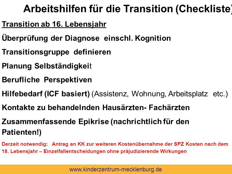 Transition ab 16. Lebensjahr Überprüfung der Diagnose einschl. Kognition Transitionsgruppe definieren Planung Selbständigkeit Berufliche Perspektiven