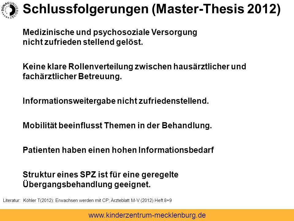 Schlussfolgerungen (Master-Thesis 2012) Medizinische und psychosoziale Versorgung nicht zufrieden stellend gelöst. Keine klare Rollenverteilung zwisch