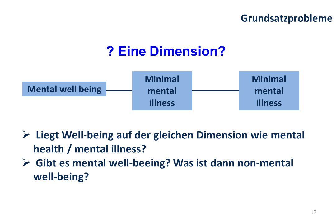 Mental well being Minimal mental illness  Liegt Well-being auf der gleichen Dimension wie mental health / mental illness?  Gibt es mental well-beein