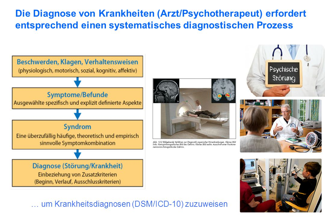 Die Diagnose von Krankheiten (Arzt/Psychotherapeut) erfordert entsprechend einen systematisches diagnostischen Prozess … um Krankheitsdiagnosen (DSM/I