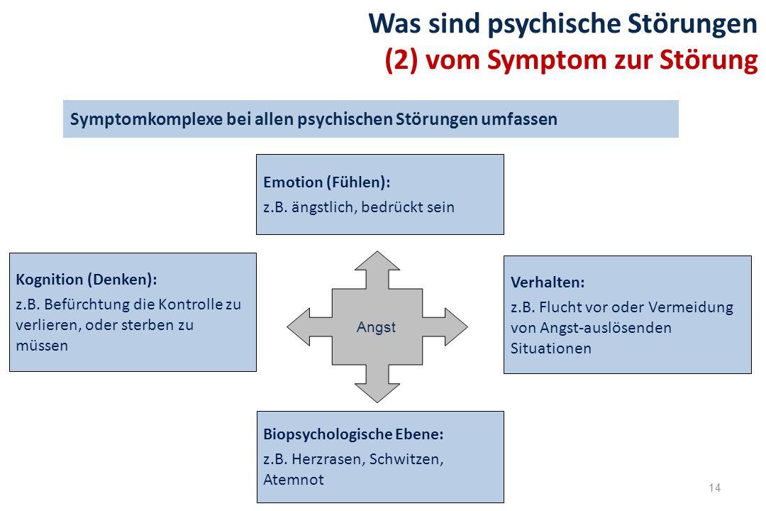 14 Symptomkomplexe bei allen psychischen Störungen umfassen Was sind psychische Störungen (2) vom Symptom zur Störung Verhalten: z.B. Flucht vor oder