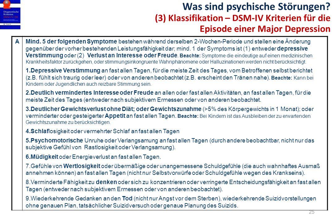 Was sind psychische Störungen? (3) Klassifikation – DSM-IV Kriterien für die Episode einer Major Depression 25 AMind. 5 der folgenden Symptome bestehe