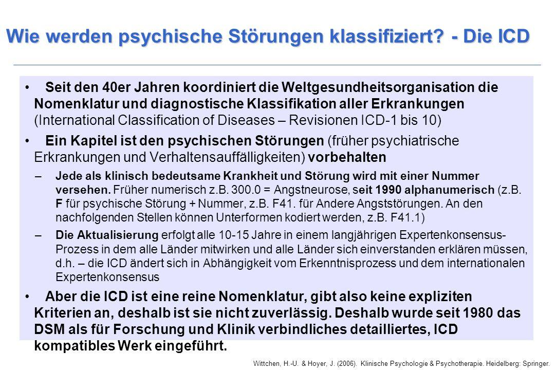 Wittchen, H.-U. & Hoyer, J. (2006). Klinische Psychologie & Psychotherapie. Heidelberg: Springer. Wie werden psychische Störungen klassifiziert? - Die