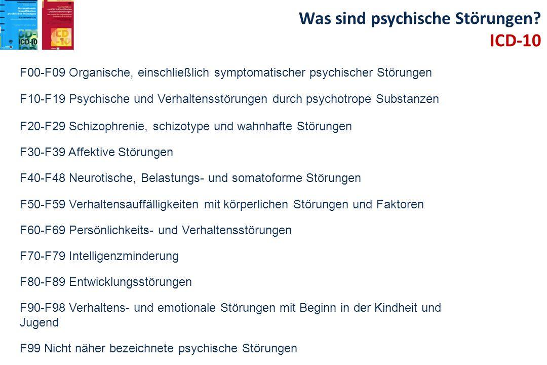 F00-F09 Organische, einschließlich symptomatischer psychischer Störungen F10-F19 Psychische und Verhaltensstörungen durch psychotrope Substanzen F20-F