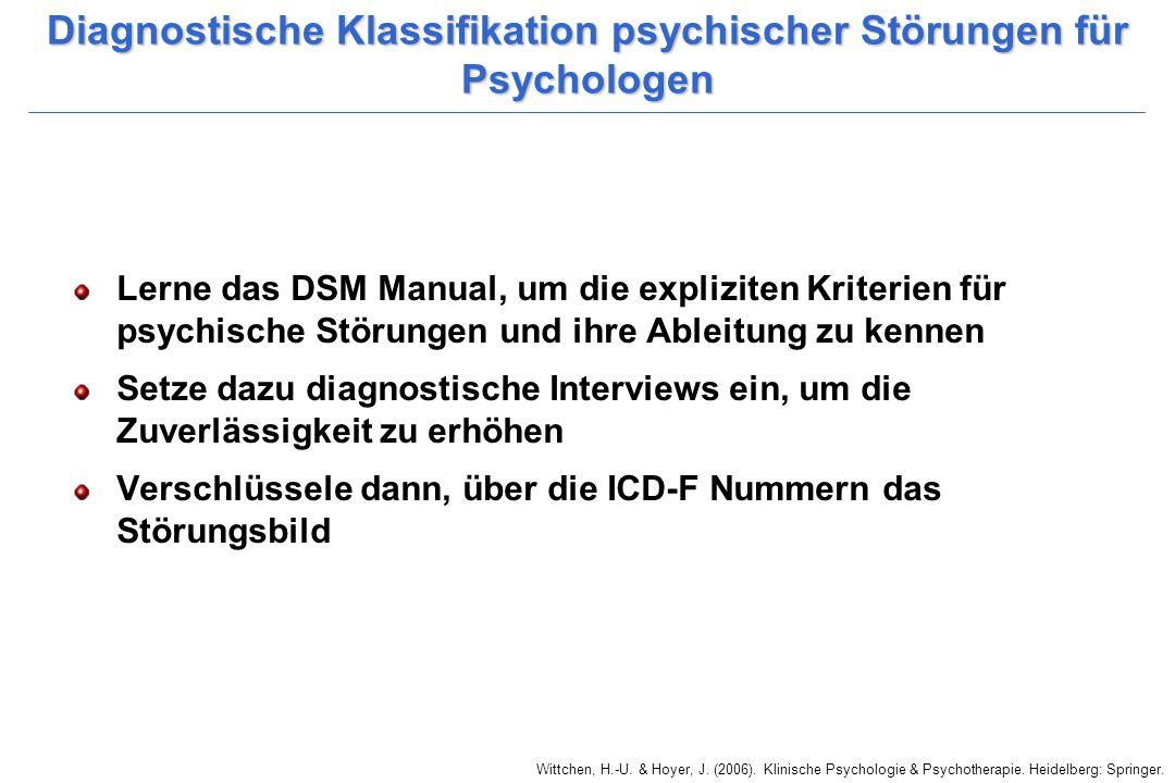 Wittchen, H.-U. & Hoyer, J. (2006). Klinische Psychologie & Psychotherapie. Heidelberg: Springer. Diagnostische Klassifikation psychischer Störungen f