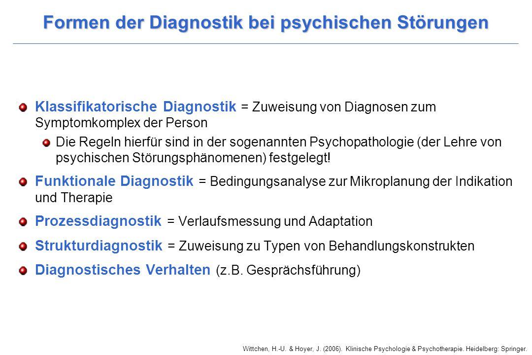 Wittchen, H.-U. & Hoyer, J. (2006). Klinische Psychologie & Psychotherapie. Heidelberg: Springer. Formen der Diagnostik bei psychischen Störungen Klas