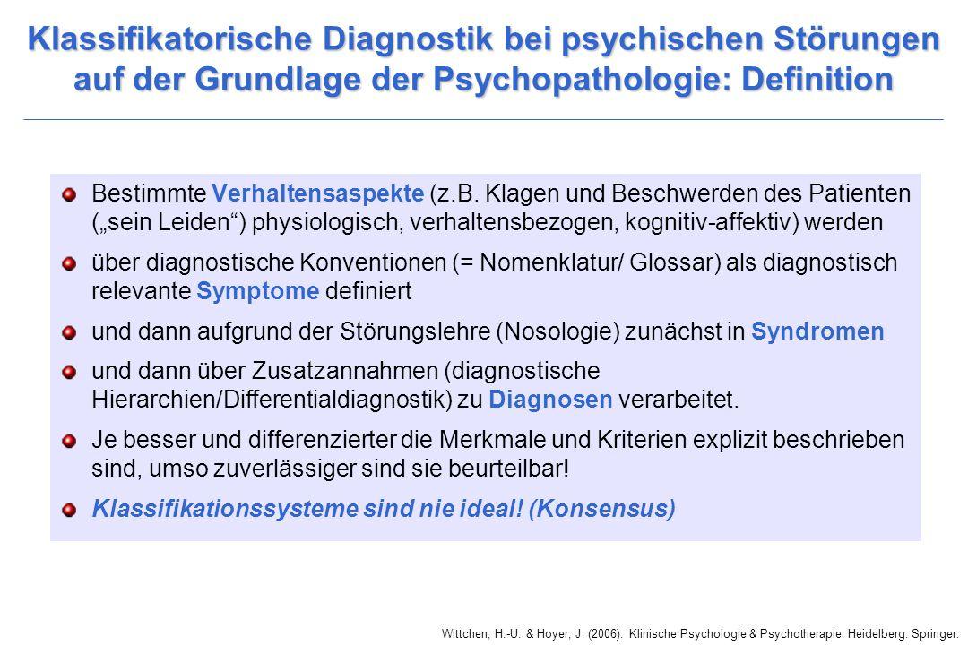 Klassifikatorische Diagnostik bei psychischen Störungen auf der Grundlage der Psychopathologie: Definition Bestimmte Verhaltensaspekte (z.B. Klagen un