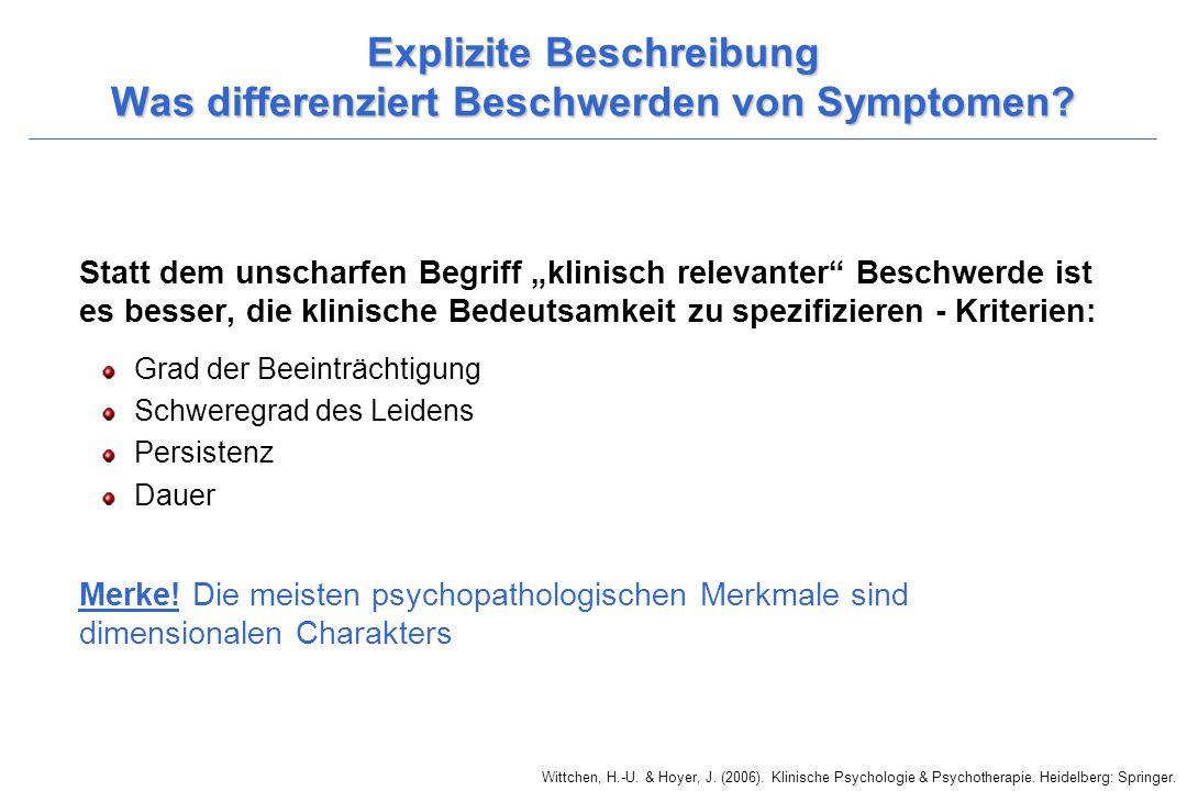 Wittchen, H.-U. & Hoyer, J. (2006). Klinische Psychologie & Psychotherapie. Heidelberg: Springer. Explizite Beschreibung Was differenziert Beschwerden