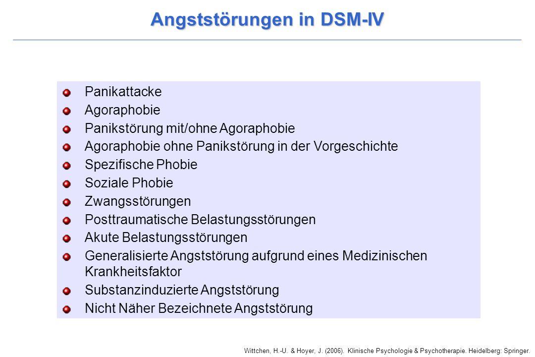 Wittchen, H.-U. & Hoyer, J. (2006). Klinische Psychologie & Psychotherapie. Heidelberg: Springer. Angststörungen in DSM-IV Panikattacke Agoraphobie Pa
