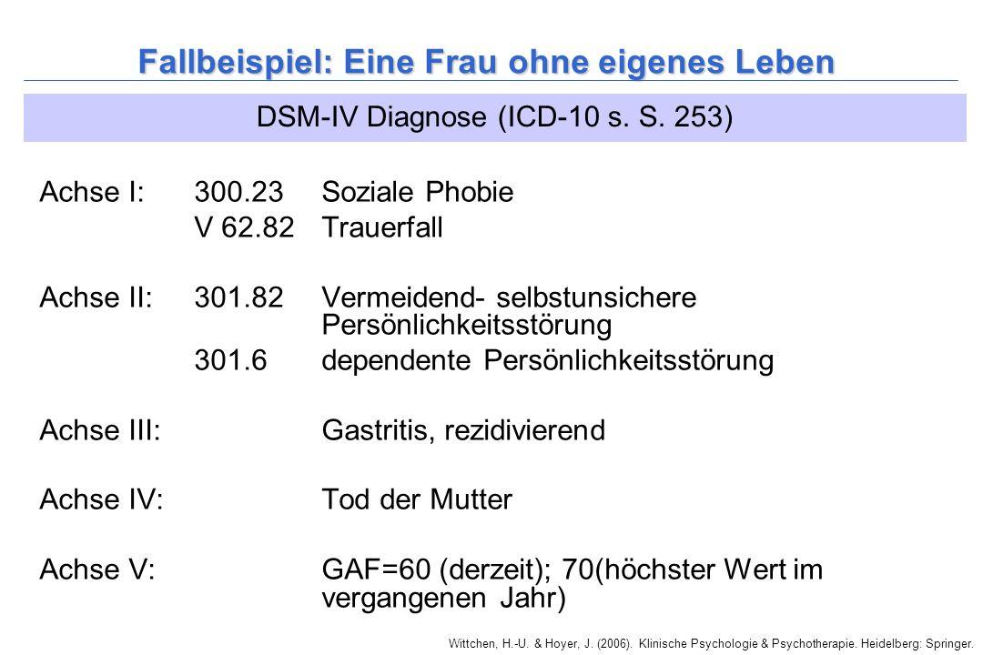Wittchen, H.-U. & Hoyer, J. (2006). Klinische Psychologie & Psychotherapie. Heidelberg: Springer. Fallbeispiel: Eine Frau ohne eigenes Leben Achse I: