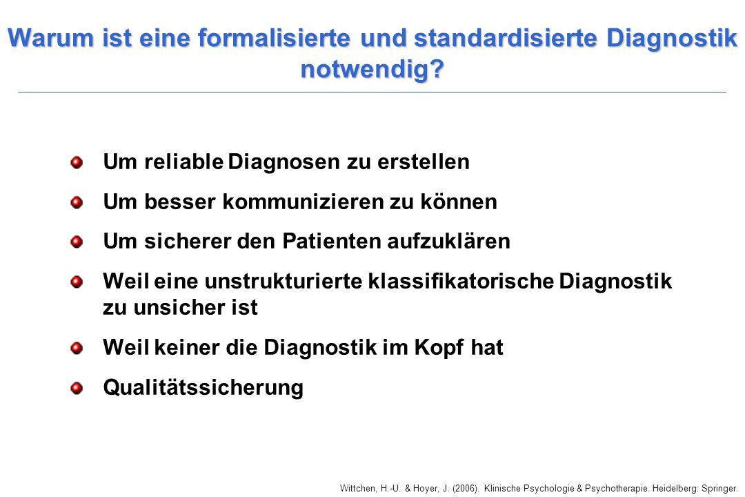 Wittchen, H.-U. & Hoyer, J. (2006). Klinische Psychologie & Psychotherapie. Heidelberg: Springer. Warum ist eine formalisierte und standardisierte Dia