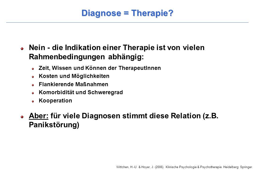 Wittchen, H.-U. & Hoyer, J. (2006). Klinische Psychologie & Psychotherapie. Heidelberg: Springer. Diagnose = Therapie? Nein - die Indikation einer The
