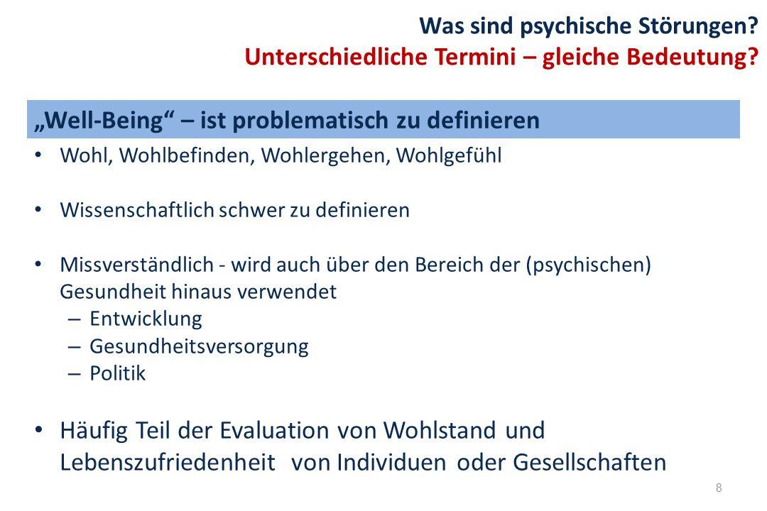 Wohl, Wohlbefinden, Wohlergehen, Wohlgefühl Wissenschaftlich schwer zu definieren Missverständlich - wird auch über den Bereich der (psychischen) Gesu