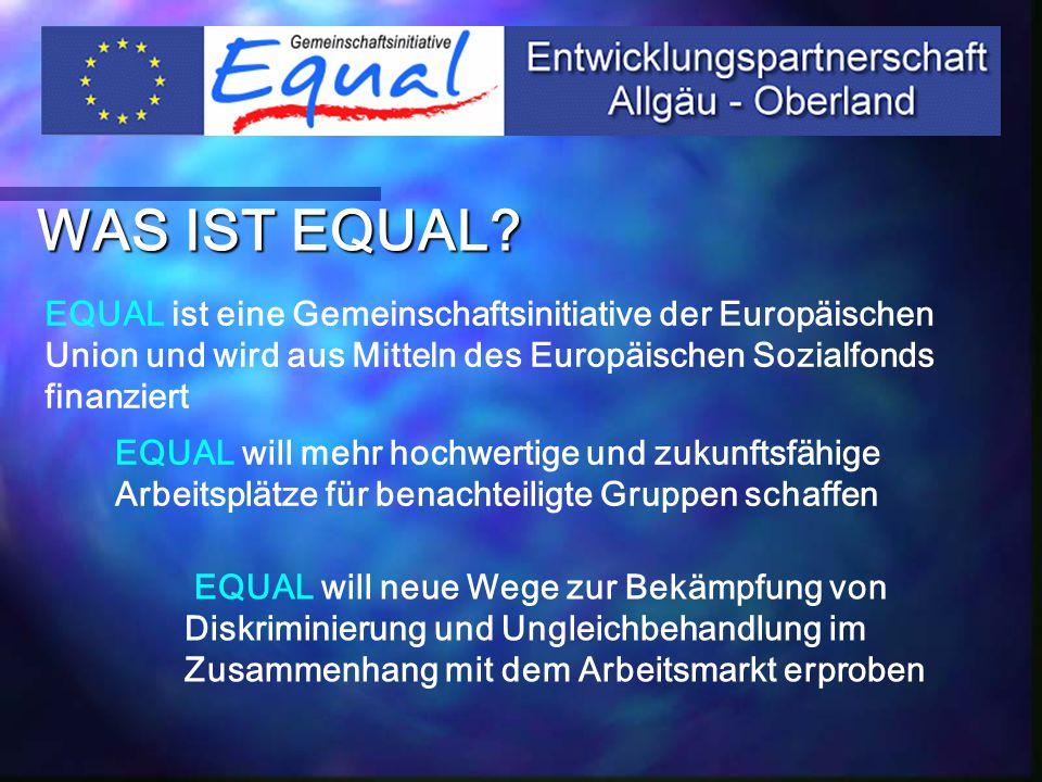 RAHMENDATEN Förderzeitraum 2002 - 2005 110 EP's in allen Bundesländern 8 EP's in Bayern Projektmittel in D400 Mio € Zuschusshöhe der EU 50% der Projektkosten ESF-Mittel in D200 Mio € Projektmittel EP AO 5 Mio € ESF-Mittel EP AO 2,5 Mio €