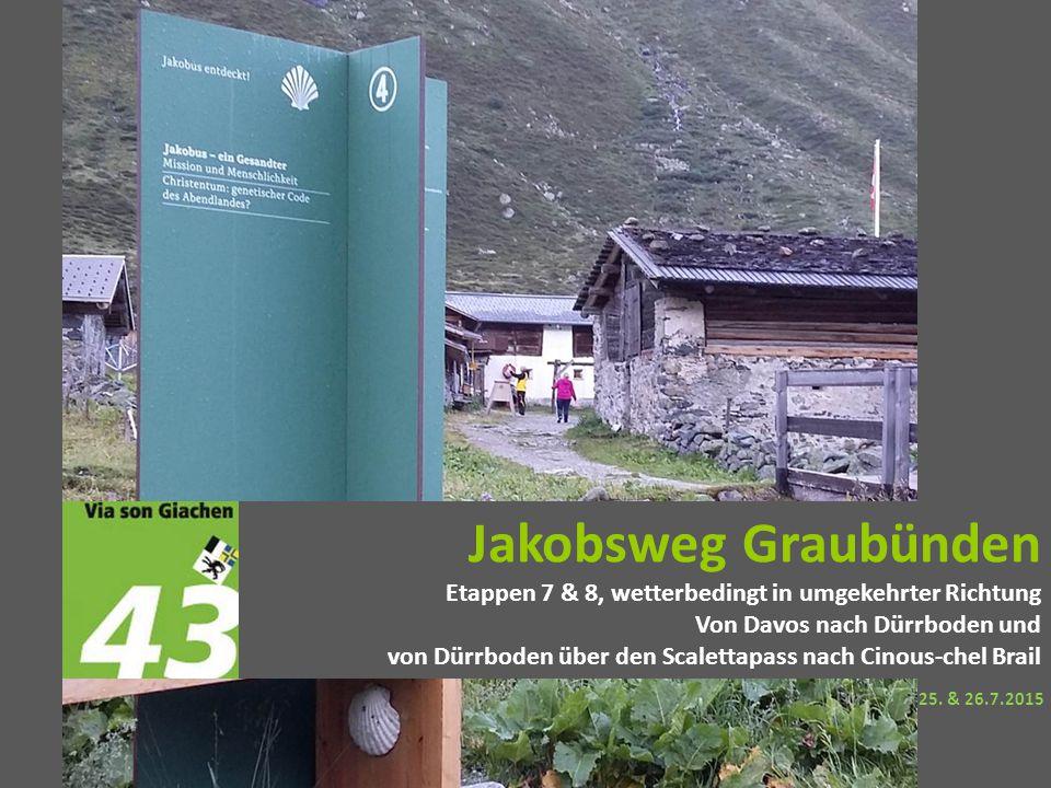 Jakobsweg Graubünden Etappen 7 & 8, wetterbedingt in umgekehrter Richtung Von Davos nach Dürrboden und von Dürrboden über den Scalettapass nach Cinous