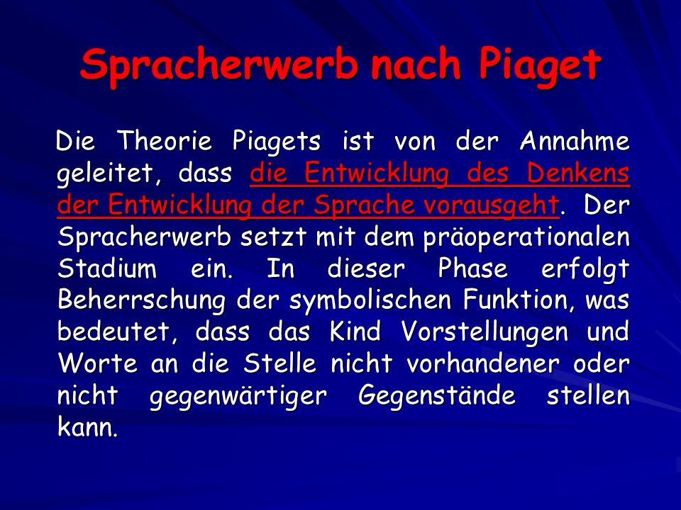 Spracherwerb nach Piaget Die Theorie Piagets ist von der Annahme geleitet, dass die Entwicklung des Denkens der Entwicklung der Sprache vorausgeht.