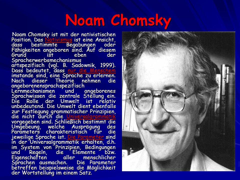 Noam Chomsky Noam Chomsky ist mit der nativistischen Position.