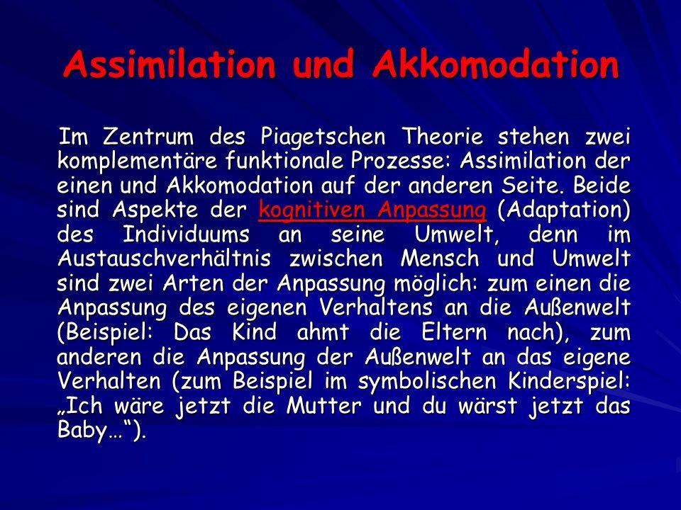 Assimilation und Akkomodation Im Zentrum des Piagetschen Theorie stehen zwei komplementäre funktionale Prozesse: Assimilation der einen und Akkomodation auf der anderen Seite.