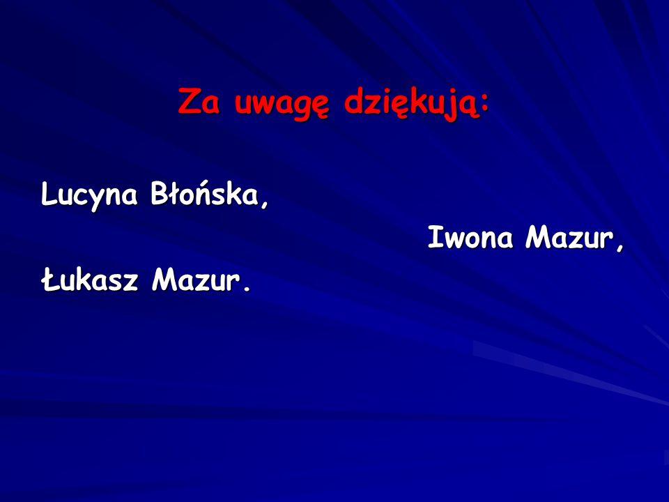 Za uwagę dziękują: Lucyna Błońska, Iwona Mazur, Iwona Mazur, Łukasz Mazur.