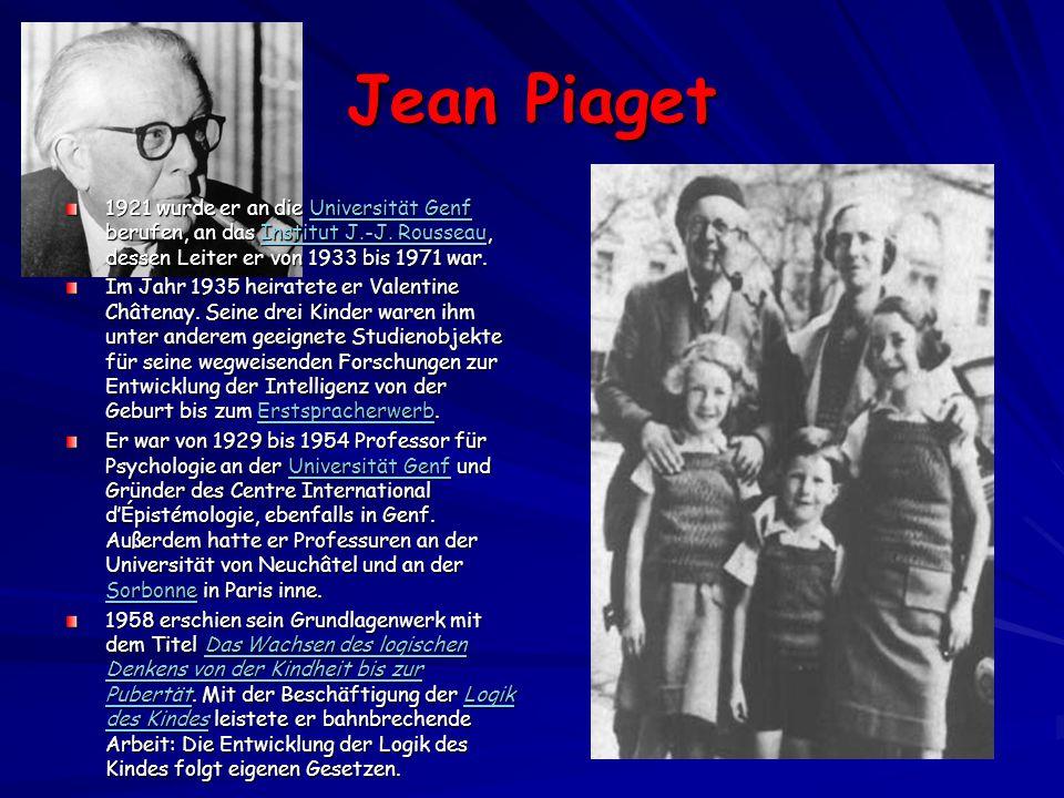 Jean Piaget 1921 wurde er an die Universität Genf berufen, an das Institut J.-J.