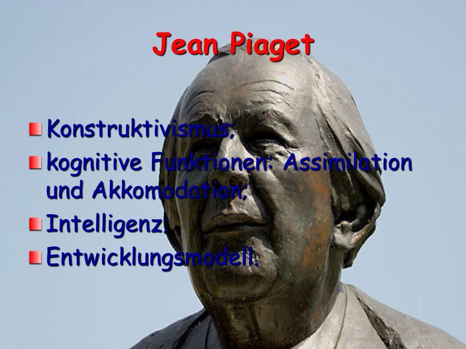 Jean Piaget Konstruktivismus; kognitive Funktionen: Assimilation und Akkomodation; Intelligenz;Entwicklungsmodell.