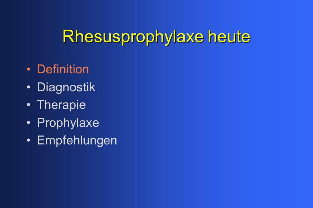 Rhesusprophylaxe heute Definition Diagnostik Therapie Prophylaxe Empfehlungen