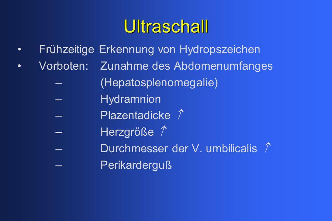 Ultraschall Frühzeitige Erkennung von Hydropszeichen Vorboten:Zunahme des Abdomenumfanges –(Hepatosplenomegalie) –Hydramnion –Plazentadicke  –Herzgrö