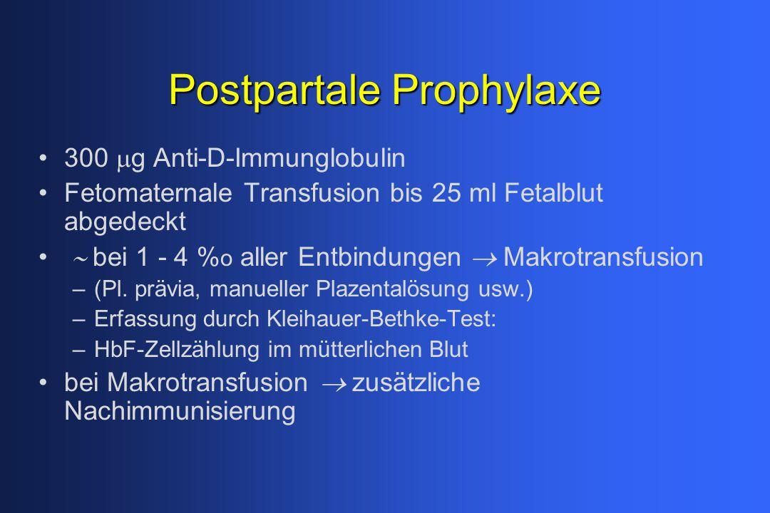 Postpartale Prophylaxe 300  g Anti-D-Immunglobulin Fetomaternale Transfusion bis 25 ml Fetalblut abgedeckt  bei 1 - 4 % o aller Entbindungen  Mak