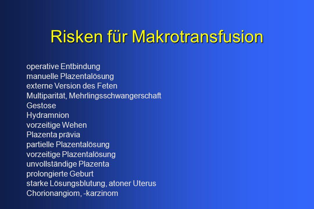 Risken für Makrotransfusion operative Entbindung manuelle Plazentalösung externe Version des Feten Multiparität, Mehrlingsschwangerschaft Gestose Hydr
