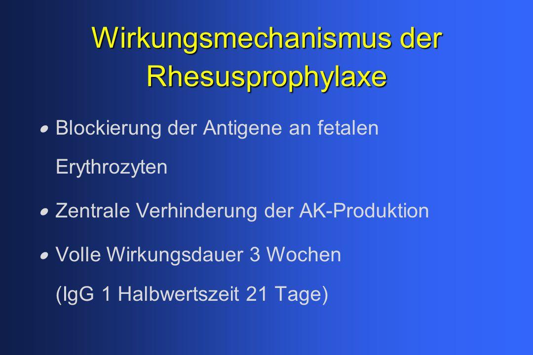 Wirkungsmechanismus der Rhesusprophylaxe  Blockierung der Antigene an fetalen Erythrozyten  Zentrale Verhinderung der AK-Produktion  Volle Wirkungs