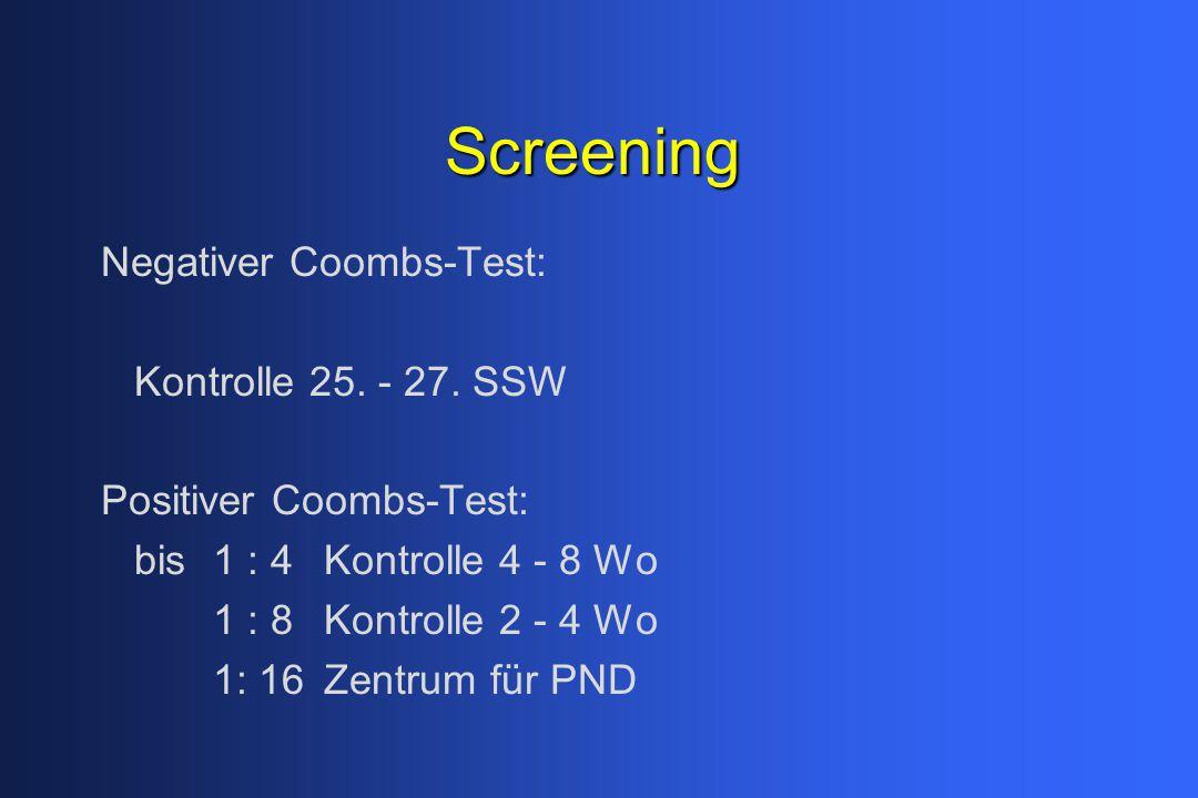 Screening Negativer Coombs-Test: Kontrolle 25. - 27. SSW Positiver Coombs-Test: bis1 : 4Kontrolle 4 - 8 Wo 1 : 8Kontrolle 2 - 4 Wo 1: 16Zentrum für PN