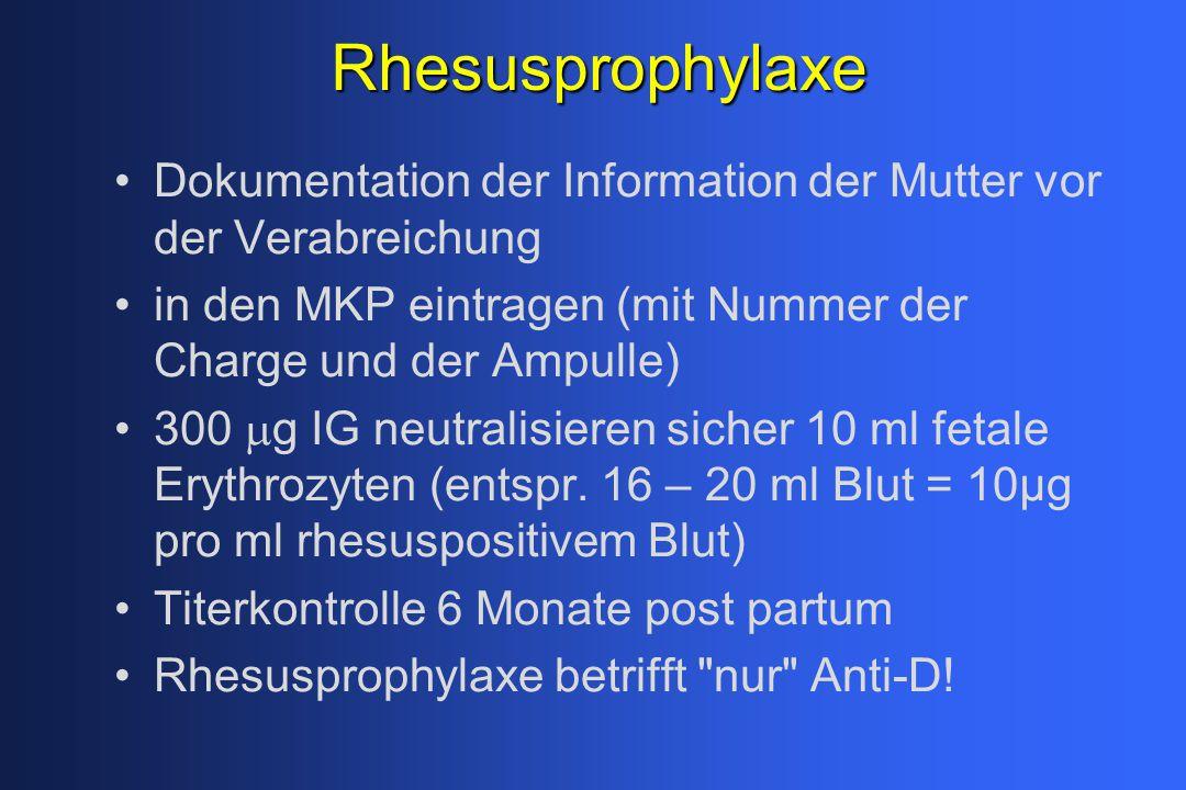 Rhesusprophylaxe Dokumentation der Information der Mutter vor der Verabreichung in den MKP eintragen (mit Nummer der Charge und der Ampulle) 300  g I