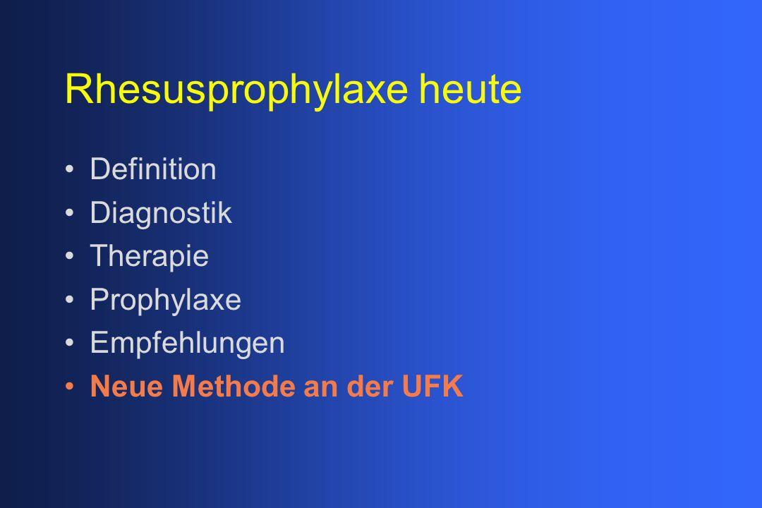Rhesusprophylaxe heute Definition Diagnostik Therapie Prophylaxe Empfehlungen Neue Methode an der UFK