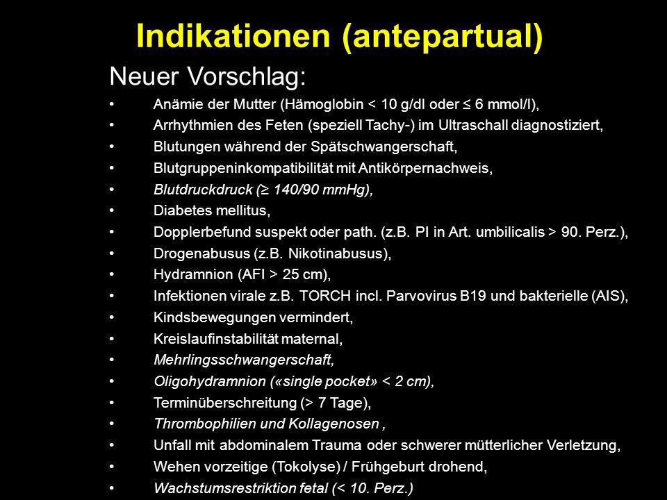 Indikationen (antepartual) Neuer Vorschlag: Anämie der Mutter (Hämoglobin < 10 g/dl oder ≤ 6 mmol/l), Arrhythmien des Feten (speziell Tachy-) im Ultra