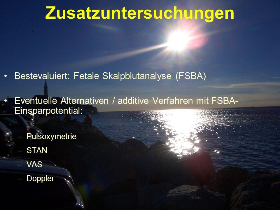Zusatzuntersuchungen Bestevaluiert: Fetale Skalpblutanalyse (FSBA) Eventuelle Alternativen / additive Verfahren mit FSBA- Einsparpotential: –Pulsoxyme