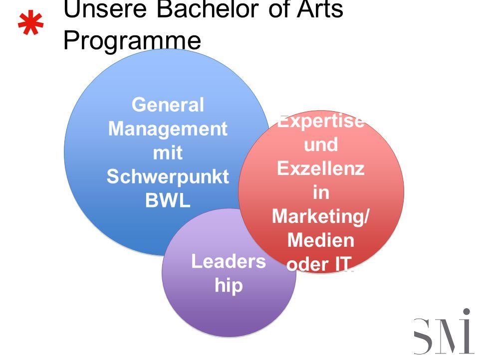 Unsere Bachelor of Arts Programme General Management mit Schwerpunkt BWL General Management mit Schwerpunkt BWL Leaders hip Expertise und Exzellenz in Marketing/ Medien oder IT.
