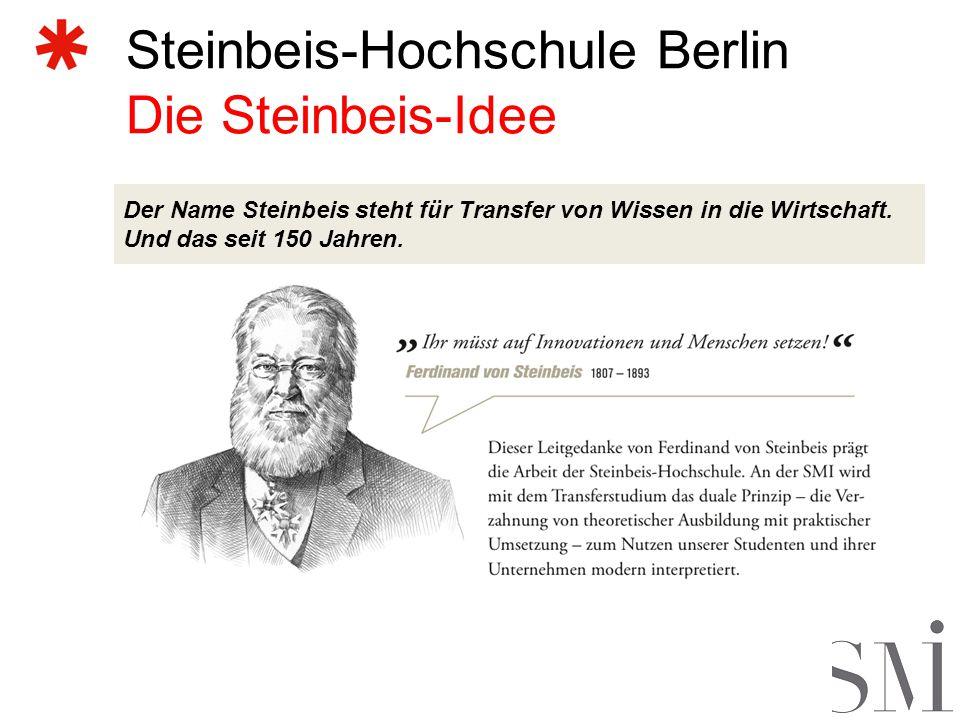 Steinbeis-Hochschule Berlin Die Steinbeis-Idee Der Name Steinbeis steht für Transfer von Wissen in die Wirtschaft.
