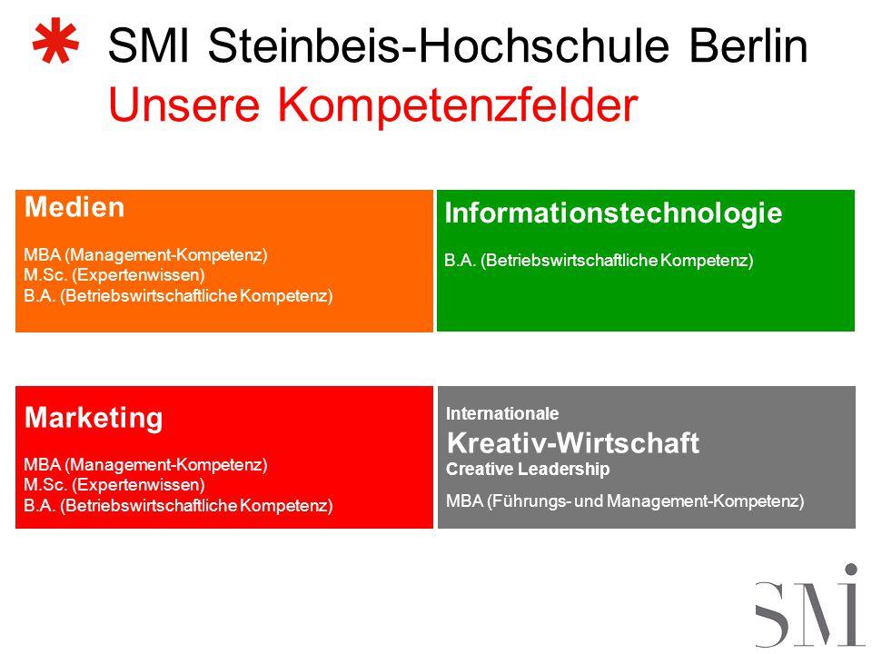 SMI Steinbeis-Hochschule Berlin Unsere Kompetenzfelder Medien MBA (Management-Kompetenz) M.Sc.