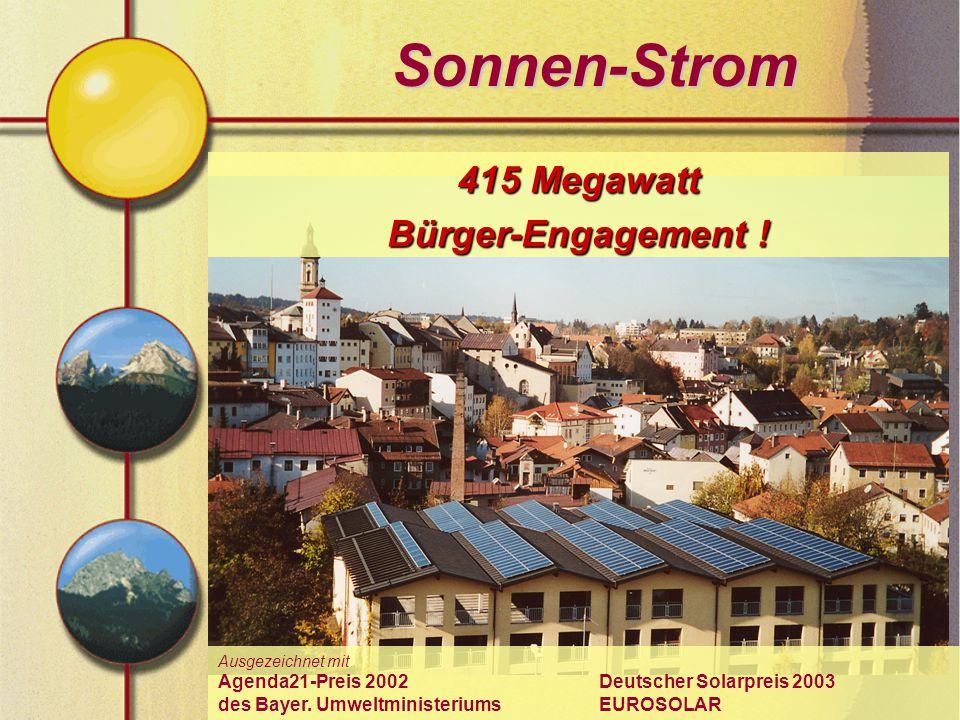 Sonnen-Strom 415 Megawatt Bürger-Engagement ! Ausgezeichnet mit Agenda21-Preis 2002 Deutscher Solarpreis 2003 des Bayer. Umweltministeriums EUROSOLAR
