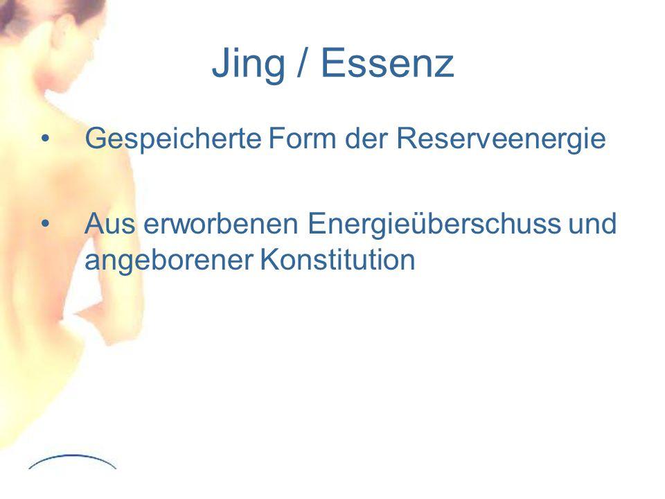 Jing / Essenz Gespeicherte Form der Reserveenergie Aus erworbenen Energieüberschuss und angeborener Konstitution