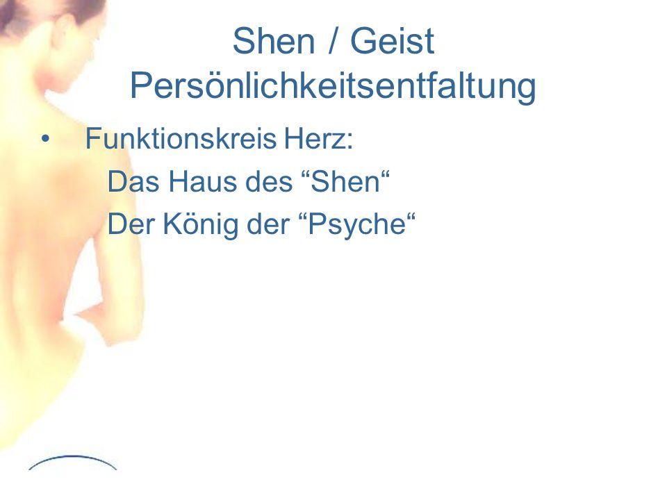 Shen / Geist Persönlichkeitsentfaltung Funktionskreis Herz: Das Haus des Shen Der König der Psyche