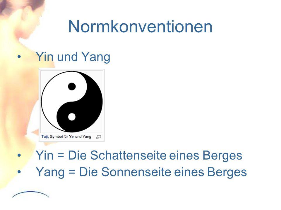 Normkonventionen Yin und Yang Yin = Die Schattenseite eines Berges Yang = Die Sonnenseite eines Berges