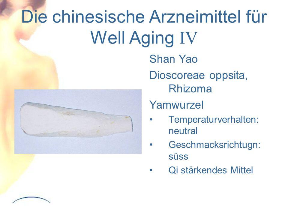 Die chinesische Arzneimittel für Well Aging IV Shan Yao Dioscoreae oppsita, Rhizoma Yamwurzel Temperaturverhalten: neutral Geschmacksrichtugn: süss Qi stärkendes Mittel