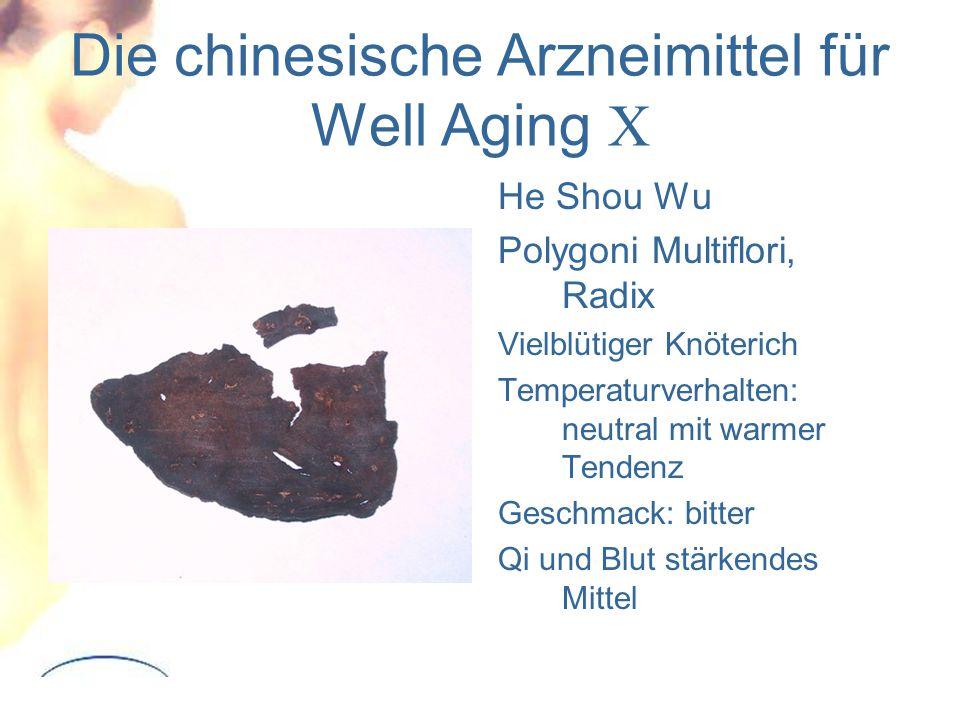 Die chinesische Arzneimittel für Well Aging X He Shou Wu Polygoni Multiflori, Radix Vielblütiger Knöterich Temperaturverhalten: neutral mit warmer Tendenz Geschmack: bitter Qi und Blut stärkendes Mittel