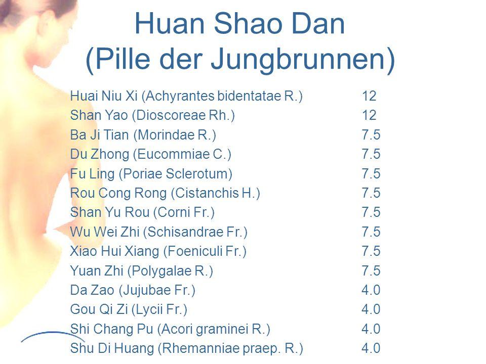 Huan Shao Dan (Pille der Jungbrunnen) Huai Niu Xi (Achyrantes bidentatae R.) 12 Shan Yao (Dioscoreae Rh.) 12 Ba Ji Tian (Morindae R.) 7.5 Du Zhong (Eucommiae C.) 7.5 Fu Ling(Poriae Sclerotum) 7.5 Rou Cong Rong (Cistanchis H.) 7.5 Shan Yu Rou (Corni Fr.) 7.5 Wu Wei Zhi (Schisandrae Fr.) 7.5 Xiao Hui Xiang (Foeniculi Fr.) 7.5 Yuan Zhi (Polygalae R.) 7.5 Da Zao(Jujubae Fr.) 4.0 Gou Qi Zi (Lycii Fr.) 4.0 Shi Chang Pu (Acori graminei R.) 4.0 Shu Di Huang (Rhemanniae praep.