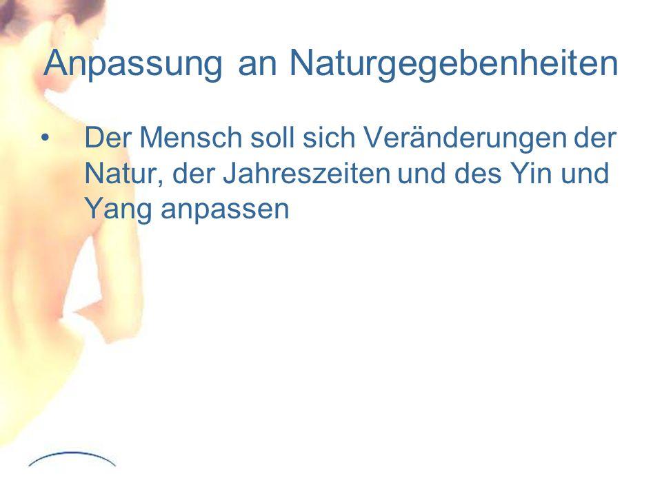 Anpassung an Naturgegebenheiten Der Mensch soll sich Veränderungen der Natur, der Jahreszeiten und des Yin und Yang anpassen